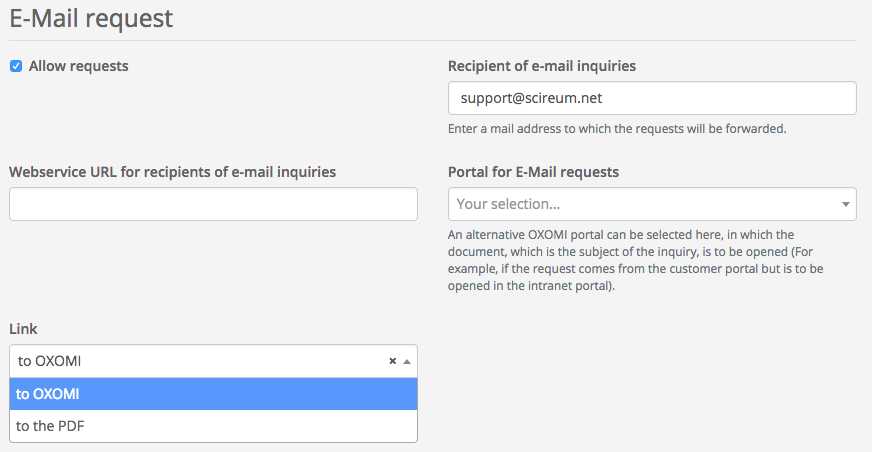 Email request settings
