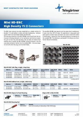 Mini HD-BNC 75 Ohm Connectors