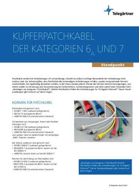 Kupferpatchkabel der Kategorien 6A (ISO/IEC 11801) und 7
