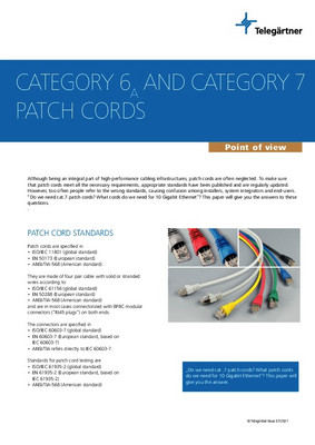 Category 6A (ISO/IEC 11801) and 7 patch cords